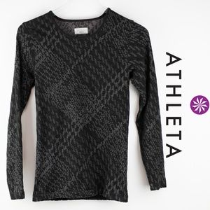 Athleta Plaid Top Small Black Grey Long Sleeve